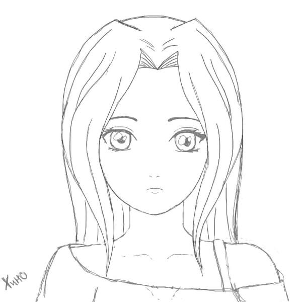 Лицо девушки рисунок карандашом аниме
