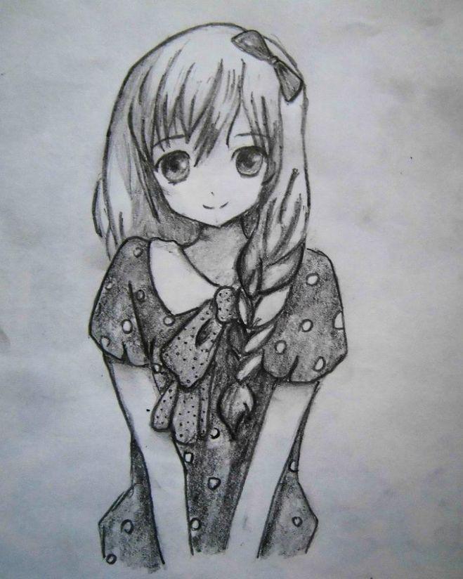 Картинки девушке карандашом для срисовки (30 рисунков) Девушка Пьет Кофе