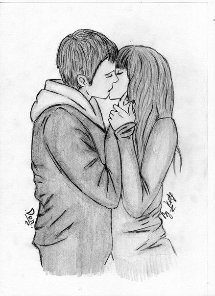 Черно белые картинки про любовь для срисовки